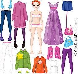 Paper doll with clothing  - Paper doll with clothing set