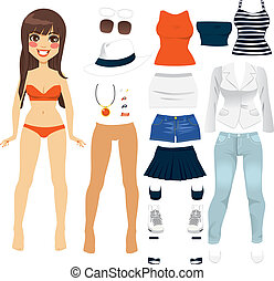 Beautiful long hair brunette woman paper doll game clothing set collection