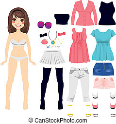 Paper Doll Women Fashion - Sweet long hair brunette paper...