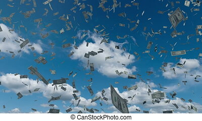 Paper dollar money fall from the blue sky 4K - Hundreds of...