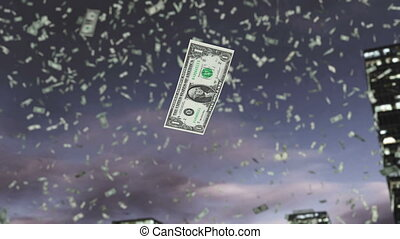 Paper dollar money fall from the sky 4K - Dollars fall from...