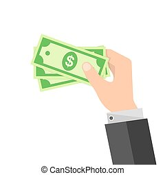 Paper dollar money money in the hand. Vector illustration.