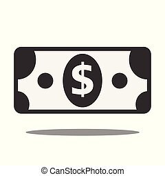 paper dollar symbol icon on white background. Stock vector...