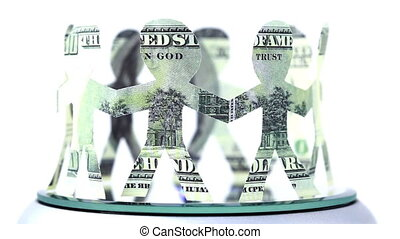 paper dollars people stand in circle and hold hands
