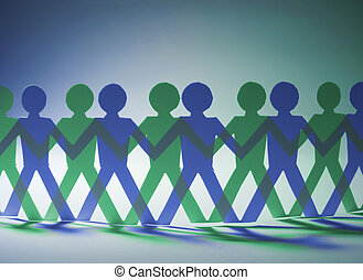 Paper Dolls in Green and Blue Tone