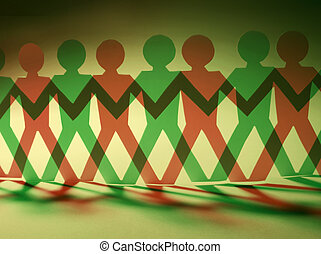 Paper Dolls in Red and Green Tones