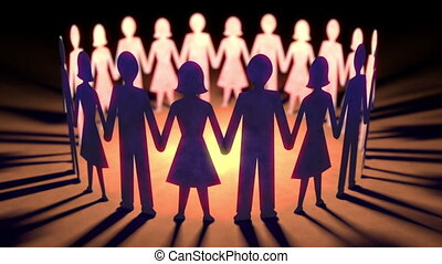Seamless loop of paper dolls holding hands in a circle.