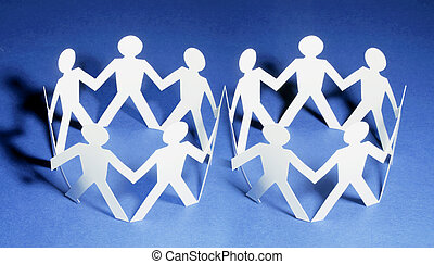 Paper Dolls on Seamless Blue Background