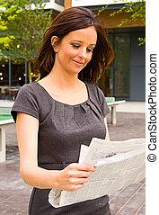 paper., donna, giovane, lettura