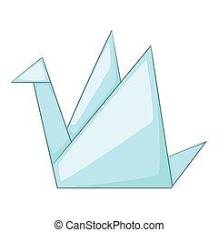 Paper dove icon, cartoon style