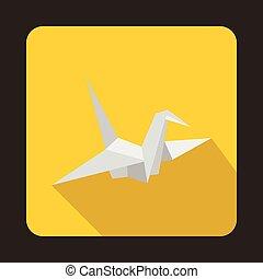 Paper dove icon, flat style