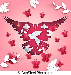 Paper dove illustration. butterfly, branch, leaf, cloud, star.