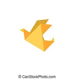 Paper dove origami flat vector icon