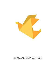 Paper dove origami flat vector icon