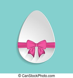 Paper Easter egg sign icon with pink bow. Easter tradition symbo