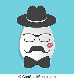 Paper egg icon with black hat, mustache, bow tie, lipstick kiss