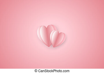 Paper elements in shape of heart  on pink background.