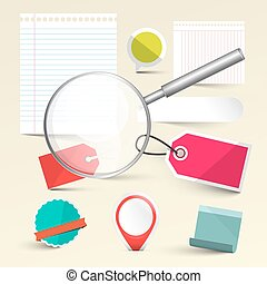 Paper Empty Labels - Tags and Paper Sheets  with Magnifying Glass Vector Set Isolated on Light Background