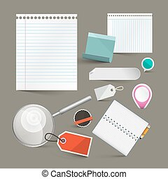 Paper Empty Labels Vector Set Isolated on Grey Background