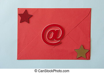 paper envelope on blue paper background