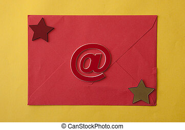 paper envelope on yellow paper background