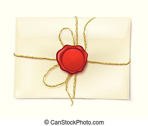 Post paper envelope sealed with rope and red wax seal 3d realistic vector icon isolated on white background. Correspondence confidentiality, letters safety concept. Vintage mail message illustration