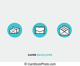 Paper envelopes flat illustration Set of line modern icons