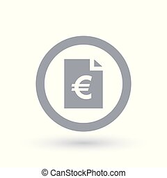 Paper Euro bill icon - European money document symbol