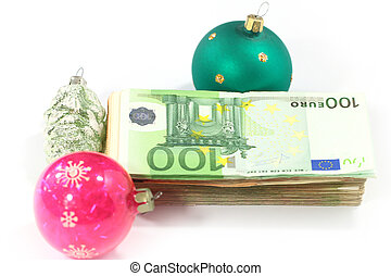 paper euro bills - glass Christmas toys and a bundle of...