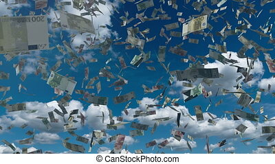 Paper euro money fall from the blue sky 4K - Hundreds of...