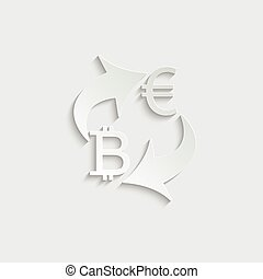 paper Exchange money icon. Exchange of euro and bitcoin currency. euro icon. Yen  bitcoin . vector