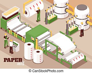 Paper Factory Isometric Composition