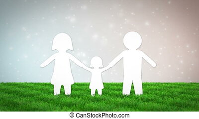 paper family animation on grass field. 3D render