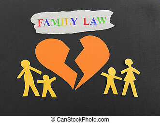 Paper family with broken heart and Family Law text