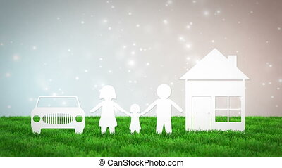 paper family with house and car on bokeh background. 3D render animation