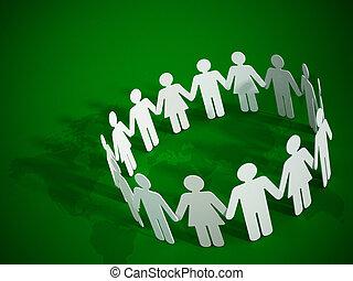 Paper figures holding hands