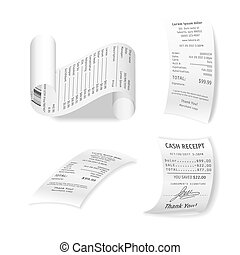 Paper financial checks vector collection isolated on white....