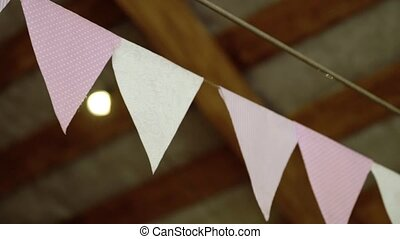 Paper flags decoration at the party