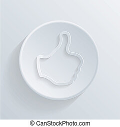 paper flat  circle icon with a shadow. thumb up