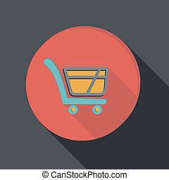 paper flat icon, cart online store