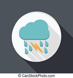 paper flat icon, cloud rain lightning