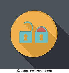 paper flat icon, padlock