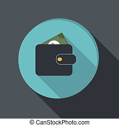 paper flat icon, purse - paper flat icon with a shadow....