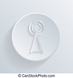 paper flat icon with a shadow,tower of the wi fi