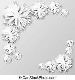Paper floral background. Background with paper flowers. Vector illustration