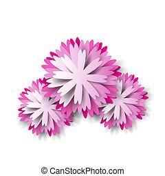 Paper floral background pink flower. Vector illustration.