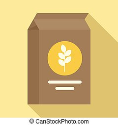 Paper flour package icon, flat style