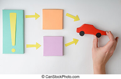 Paper flow chart diagram and car model on white background