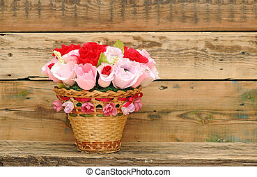 Paper flower in a basket