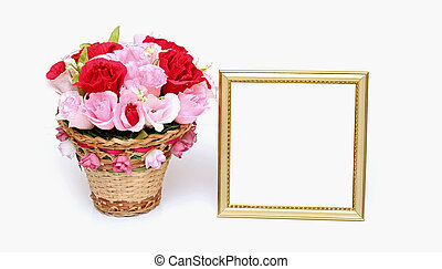 Paper flower in a basket with blank gold frame